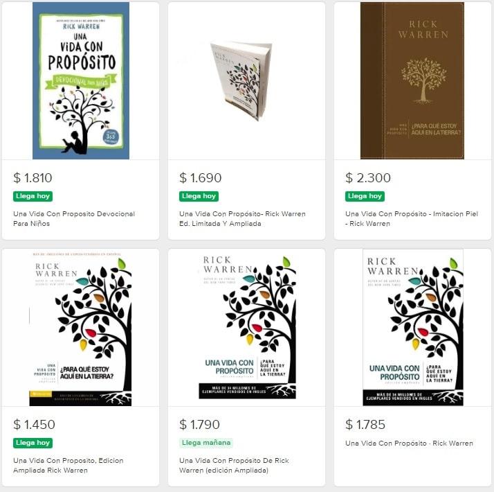"""Diferentes ediciones y portadas del libro """"Una vida con proposito"""" (Rick Warren)"""